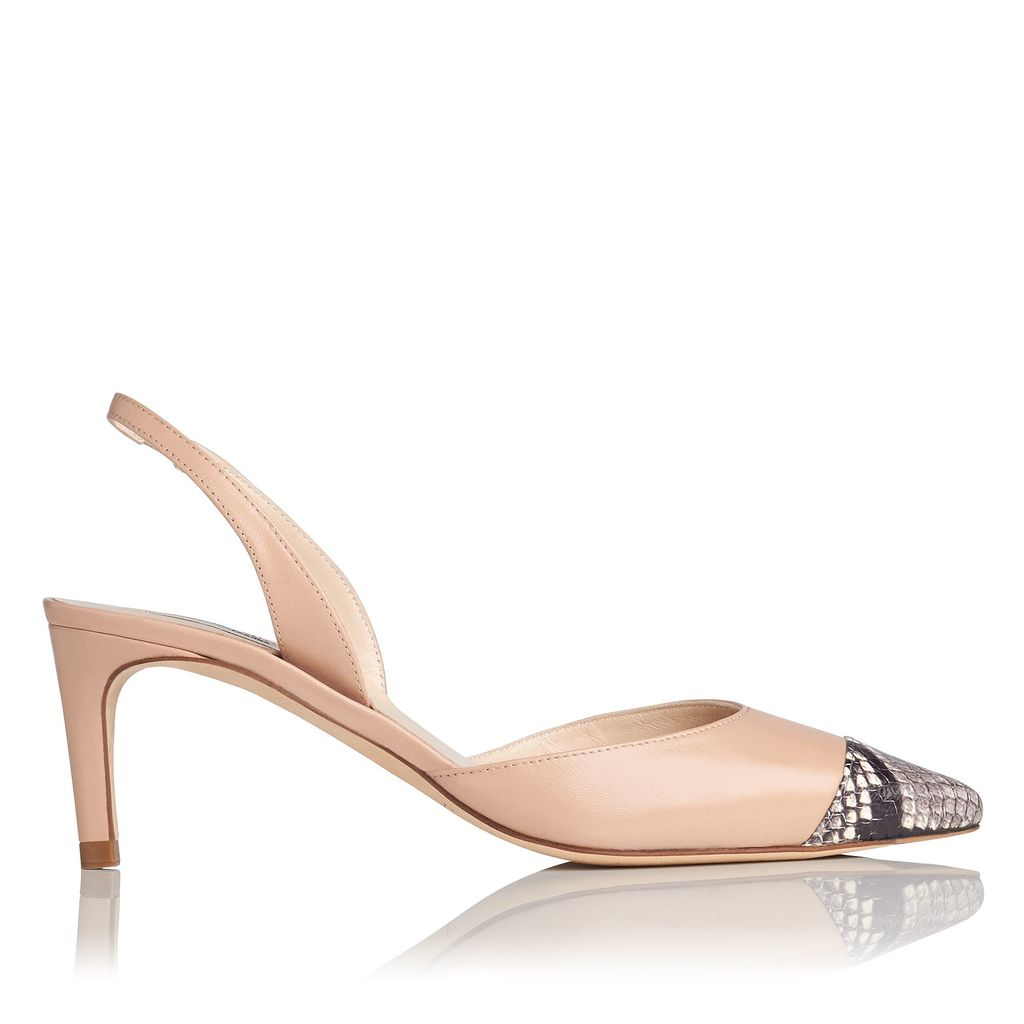 Keira Open Courts Shoes, Beige - predominant colour: nude; secondary colour: mid grey; occasions: evening; material: leather; heel height: high; heel: stiletto; toe: pointed toe; style: slingbacks; finish: plain; pattern: colourblock; multicoloured: multicoloured; season: s/s 2016; wardrobe: event