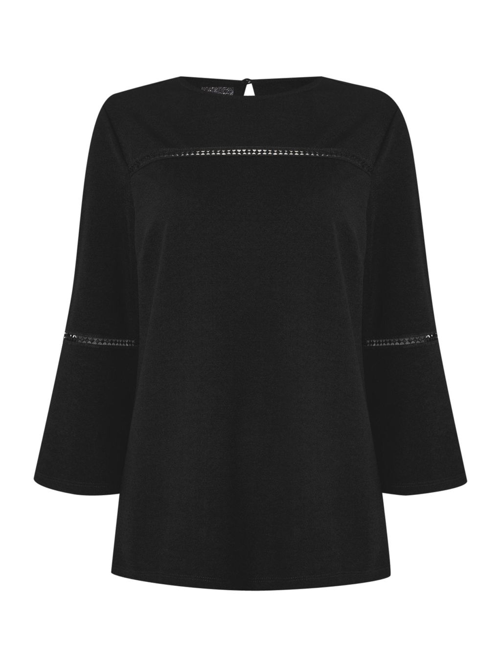 Libby Bell Sleeve Trim Detail Top, Black - neckline: round neck; pattern: plain; predominant colour: black; occasions: casual, creative work; length: standard; style: top; fibres: polyester/polyamide - 100%; fit: straight cut; sleeve length: 3/4 length; sleeve style: standard; texture group: sheer fabrics/chiffon/organza etc.; pattern type: fabric; season: s/s 2016