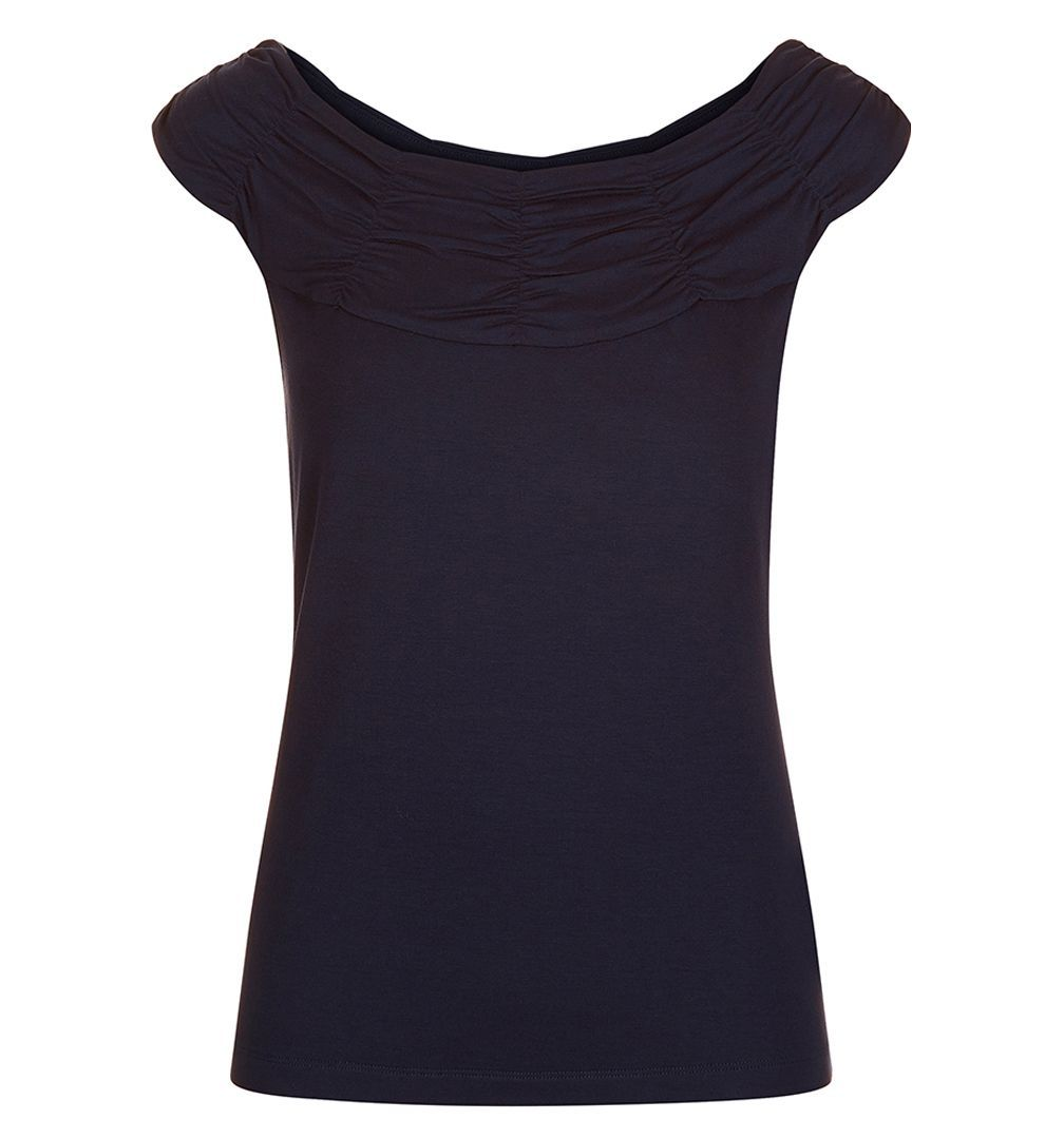 Bess Slvles Bardot, Dark Navy - neckline: cowl/draped neck; sleeve style: capped; pattern: plain; predominant colour: navy; occasions: casual, creative work; length: standard; style: top; fibres: viscose/rayon - stretch; fit: body skimming; sleeve length: short sleeve; pattern type: fabric; texture group: jersey - stretchy/drapey; season: s/s 2016; wardrobe: basic