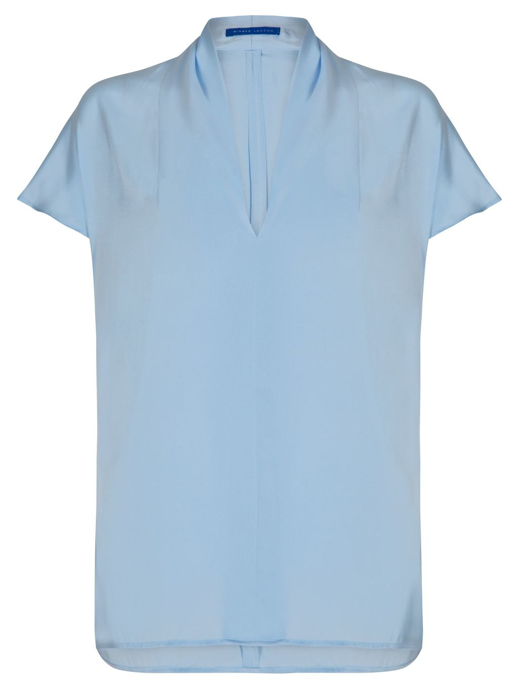 V Neck Silk Top, Blue - sleeve style: capped; pattern: plain; neckline: high neck; predominant colour: pale blue; occasions: casual, work, creative work; length: standard; style: top; fibres: silk - mix; fit: straight cut; sleeve length: short sleeve; texture group: silky - light; pattern type: fabric; season: s/s 2016; wardrobe: highlight