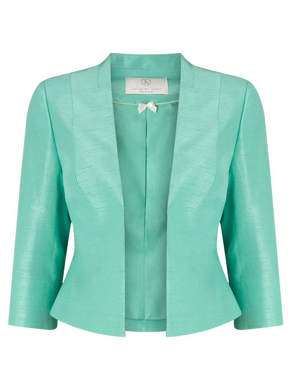 Petite Notch Neck Jacket, Green - pattern: plain; style: single breasted blazer; collar: round collar/collarless; predominant colour: pistachio; length: standard; fit: tailored/fitted; fibres: silk - 100%; occasions: occasion; sleeve length: 3/4 length; sleeve style: standard; texture group: structured shiny - satin/tafetta/silk etc.; collar break: low/open; pattern type: fabric; season: s/s 2016; wardrobe: event