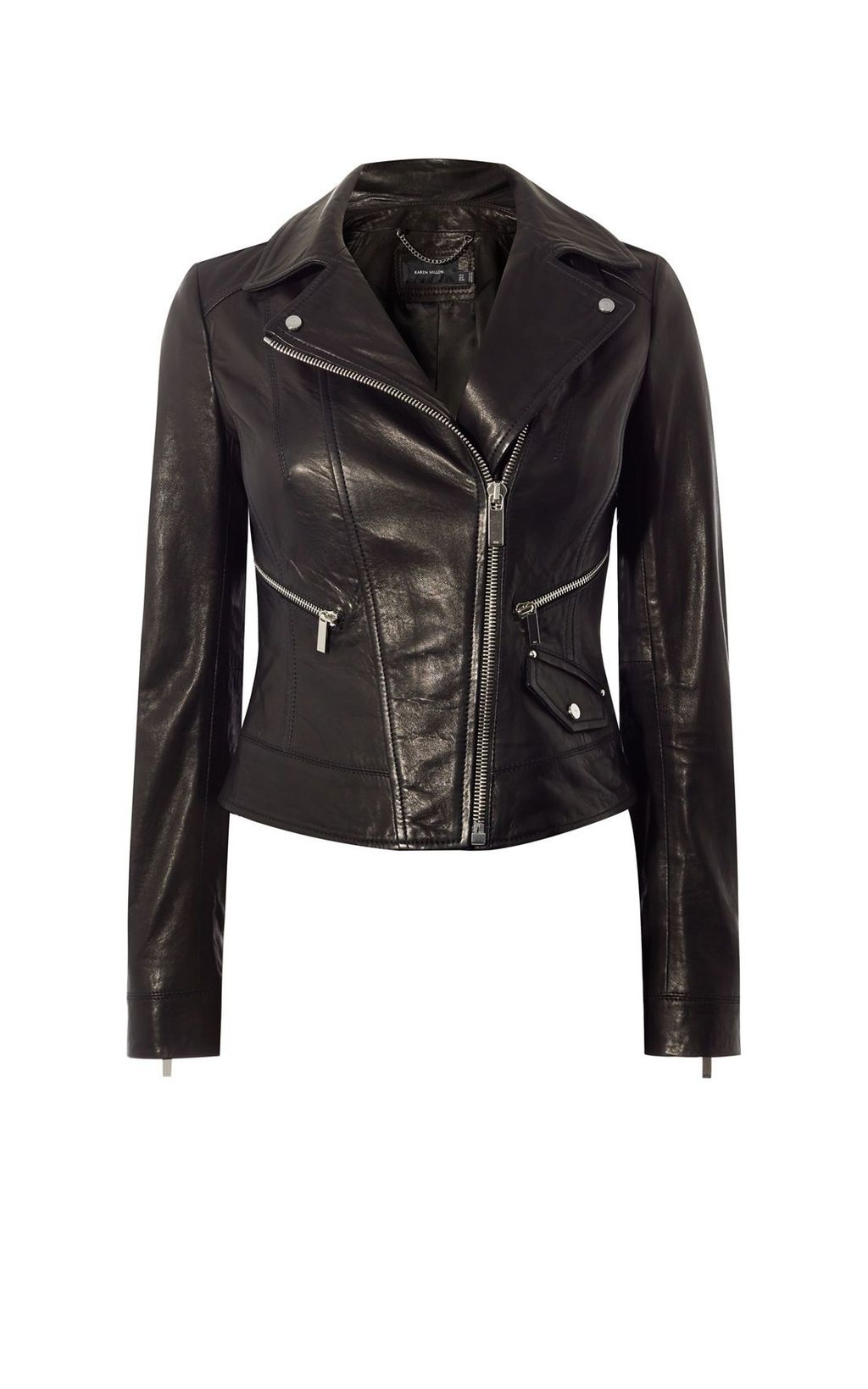 Leather Biker Jacket, Black - pattern: plain; style: biker; collar: asymmetric biker; predominant colour: black; occasions: casual, creative work; length: standard; fit: tailored/fitted; fibres: leather - 100%; sleeve length: long sleeve; sleeve style: standard; texture group: leather; collar break: high/illusion of break when open; pattern type: fabric; season: s/s 2016; wardrobe: basic