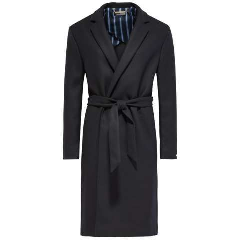 Nea Wool Coat, Navy - pattern: plain; length: below the bottom; style: single breasted; collar: standard lapel/rever collar; predominant colour: navy; occasions: casual, creative work; fit: tailored/fitted; fibres: wool - mix; waist detail: belted waist/tie at waist/drawstring; sleeve length: long sleeve; sleeve style: standard; texture group: cotton feel fabrics; collar break: medium; pattern type: fabric; season: s/s 2016; wardrobe: basic
