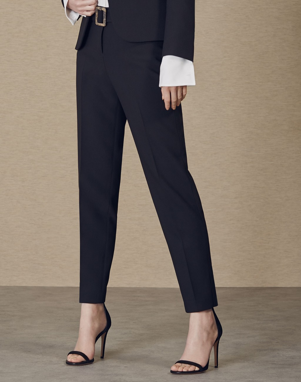 Slim Leg Belted Trouser Black - pattern: plain; waist: mid/regular rise; predominant colour: navy; occasions: work; length: ankle length; fibres: polyester/polyamide - 100%; texture group: crepes; fit: slim leg; pattern type: fabric; style: standard; season: a/w 2015; wardrobe: basic