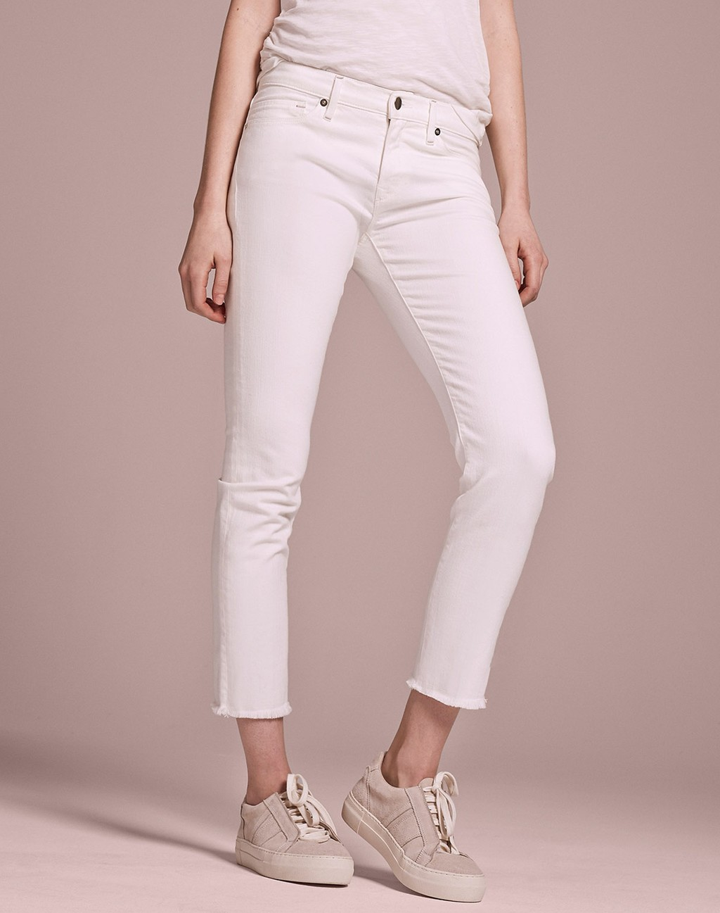 Fray Hem Slim Cropped Jean Ecru - pattern: plain; pocket detail: traditional 5 pocket; waist: mid/regular rise; predominant colour: white; occasions: casual; length: calf length; fibres: cotton - stretch; texture group: denim; fit: slim leg; pattern type: fabric; style: standard; season: s/s 2016; wardrobe: basic