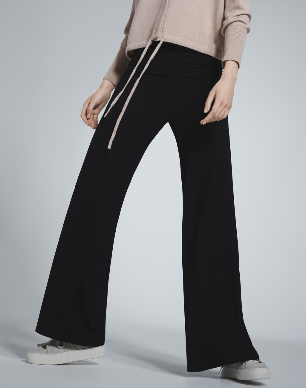 Palazzo Pants Black - length: standard; pattern: plain; waist: mid/regular rise; predominant colour: black; occasions: evening; fibres: viscose/rayon - stretch; texture group: crepes; fit: wide leg; pattern type: fabric; style: standard; season: s/s 2016; wardrobe: event