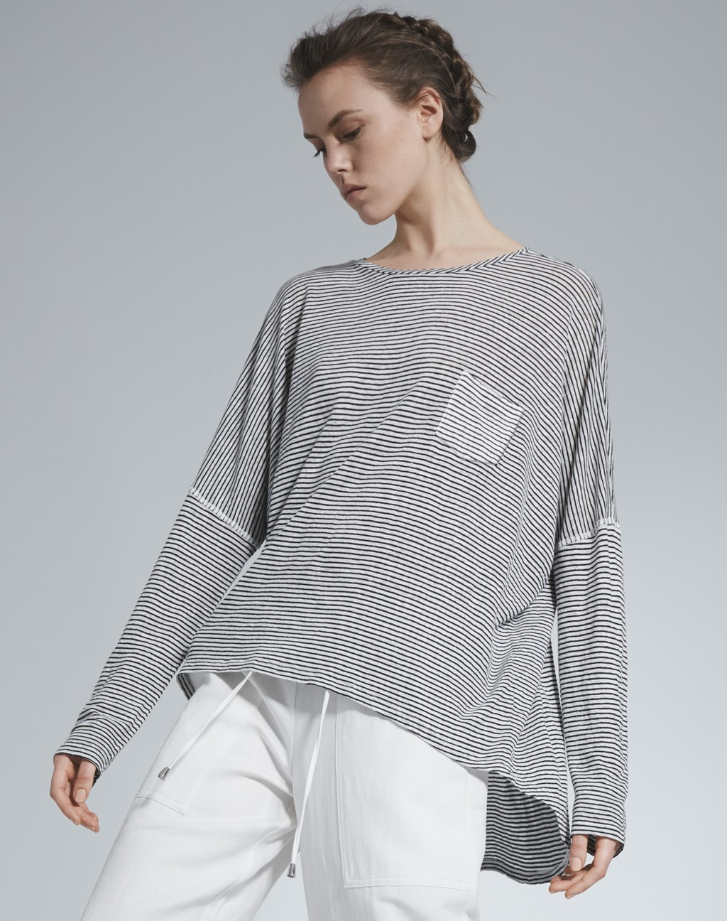 Oversized Slouchy Tee Soft White/Black - neckline: round neck; sleeve style: dolman/batwing; pattern: plain; length: below the bottom; style: t-shirt; predominant colour: light grey; occasions: casual; fibres: linen - mix; fit: loose; sleeve length: long sleeve; pattern type: fabric; texture group: jersey - stretchy/drapey; season: s/s 2016