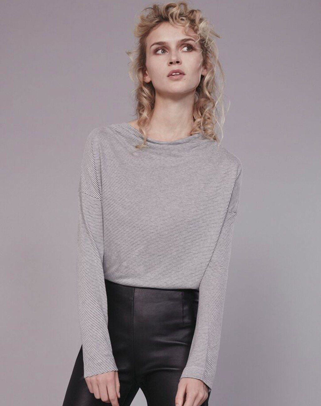 Cowl Neck Tee Grey/Soft White - neckline: round neck; pattern: plain; length: cropped; style: t-shirt; predominant colour: mid grey; occasions: casual, creative work; fibres: cotton - stretch; fit: straight cut; sleeve length: long sleeve; sleeve style: standard; pattern type: fabric; texture group: jersey - stretchy/drapey; season: s/s 2016; wardrobe: basic