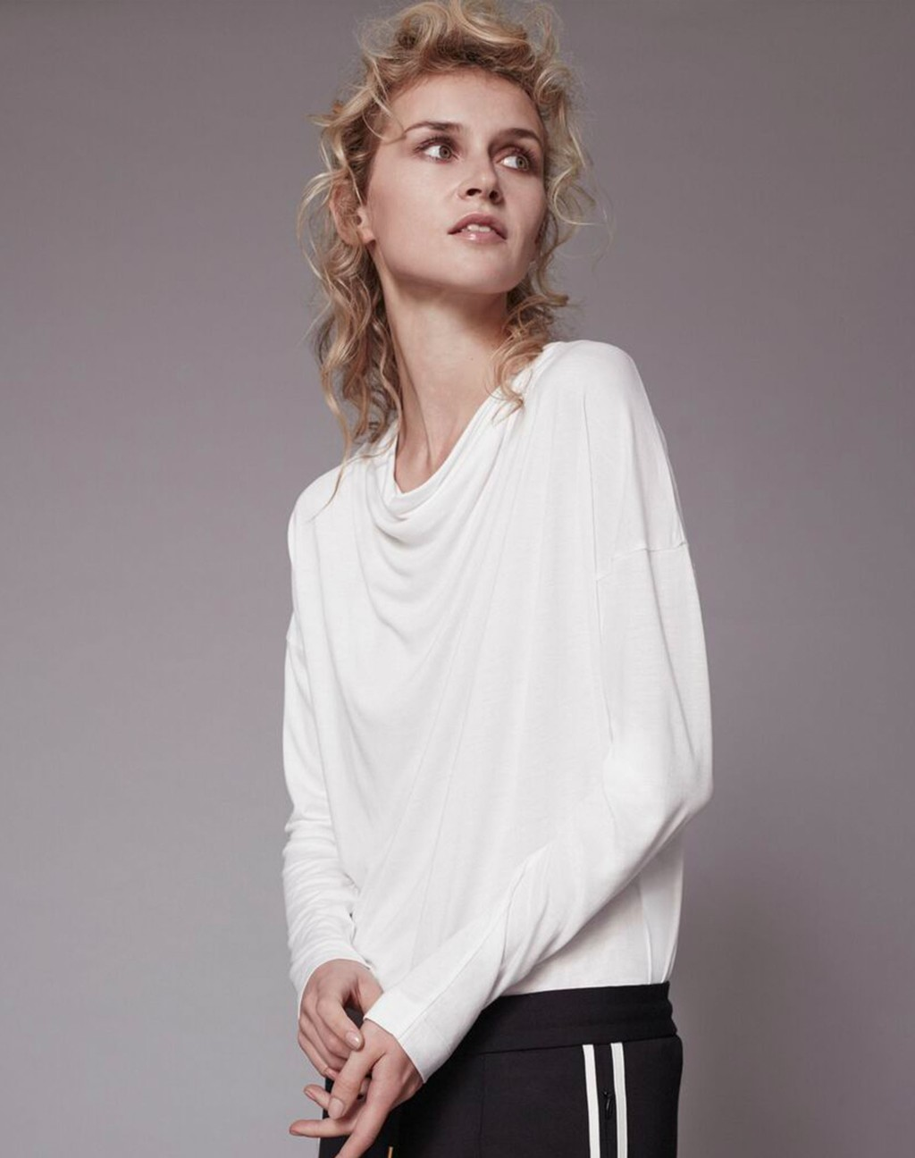 Cowl Neck Tee Soft White - neckline: cowl/draped neck; sleeve style: dolman/batwing; pattern: plain; style: t-shirt; predominant colour: ivory/cream; occasions: casual, creative work; length: standard; fibres: cotton - stretch; fit: straight cut; sleeve length: long sleeve; pattern type: fabric; texture group: jersey - stretchy/drapey; season: s/s 2016; wardrobe: basic