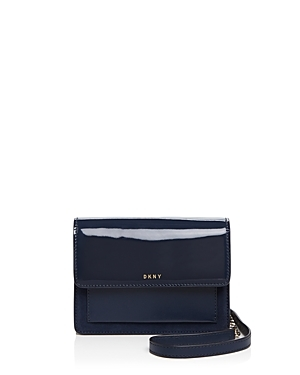 Mini Flap Crossbody - predominant colour: navy; occasions: casual; type of pattern: standard; style: messenger; length: across body/long; size: small; material: leather; pattern: plain; finish: patent; season: s/s 2016; wardrobe: basic