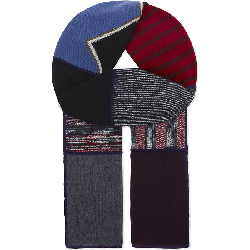 Patchwork Wool Blend Scarf, Women's, Patchwork Multico - predominant colour: true red; secondary colour: black; occasions: casual; type of pattern: heavy; style: regular; size: standard; material: fabric; pattern: patterned/print; multicoloured: multicoloured; season: s/s 2016; wardrobe: highlight