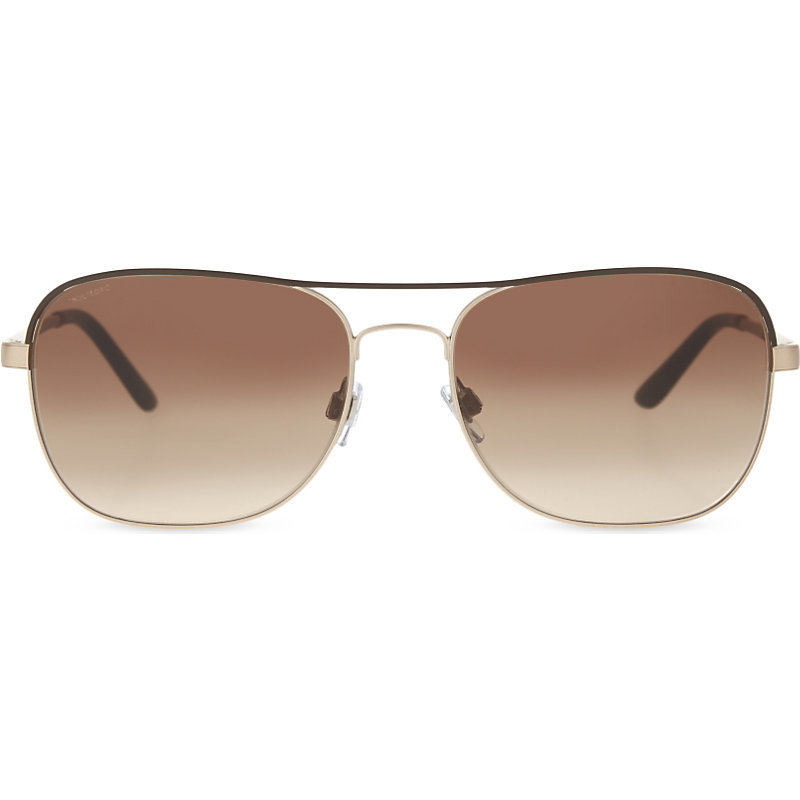 Ar6040 Aviator Sunglasses, Women's, Matte Brown - predominant colour: chocolate brown; occasions: casual, holiday; style: square; size: standard; material: chain/metal; pattern: plain; finish: plain; season: s/s 2016