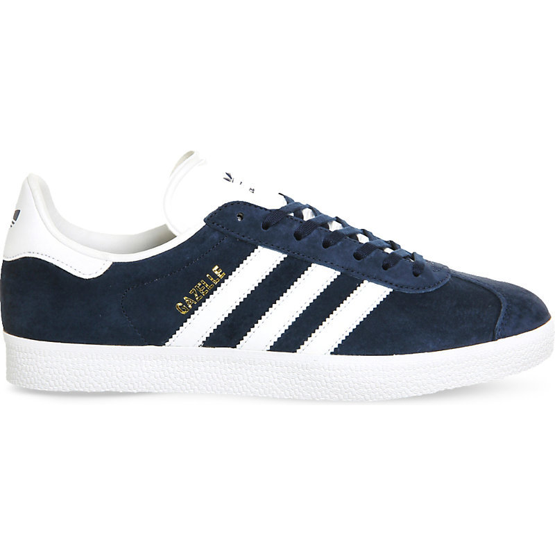 Gazelle Suede Trainers, Women's, Navy White - predominant colour: navy; occasions: casual, activity; material: suede; heel height: flat; toe: round toe; style: trainers; finish: plain; pattern: plain; season: s/s 2016