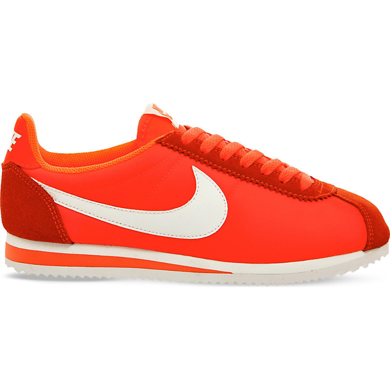 Cortez Nylon And Suede Trainers, Women's, 5.5, Total Crimson White - predominant colour: true red; occasions: casual, activity; material: suede; heel height: flat; toe: round toe; style: trainers; finish: plain; pattern: plain; shoe detail: moulded soul; season: s/s 2016