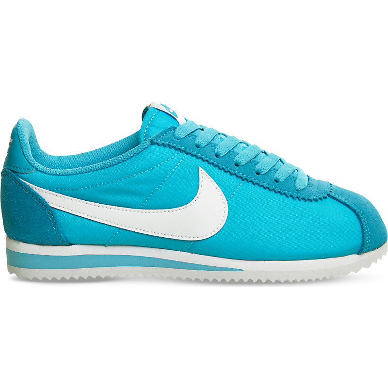Cortez Nylon And Suede Trainers, Women's, Gamma Blue White - predominant colour: turquoise; occasions: casual; material: suede; heel height: flat; toe: round toe; style: trainers; finish: plain; pattern: plain; season: s/s 2016; wardrobe: highlight
