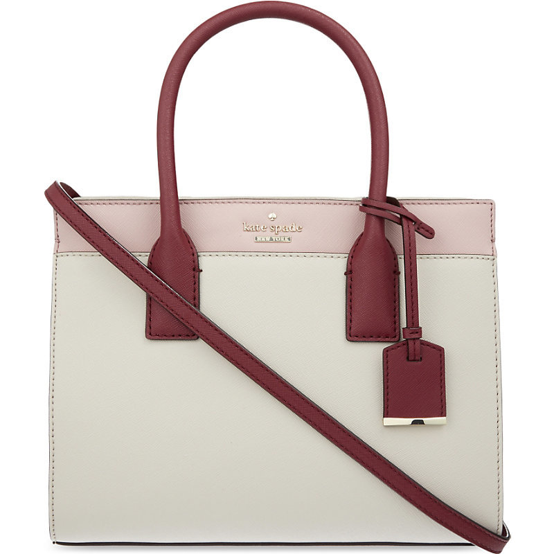 Cameron Street Candace Small Leather Satchel, Women's, Pink Bonnet - secondary colour: hot pink; predominant colour: light grey; occasions: casual, creative work; type of pattern: standard; style: tote; length: handle; size: small; material: leather; pattern: plain; finish: plain; season: s/s 2016; wardrobe: investment
