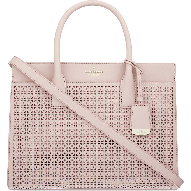 Cameron Street Candance Leather Satchel, Women's, Pink Bonnet - predominant colour: blush; occasions: casual, creative work; type of pattern: standard; style: tote; length: handle; size: standard; material: leather; finish: plain; pattern: patterned/print; season: s/s 2016; wardrobe: highlight