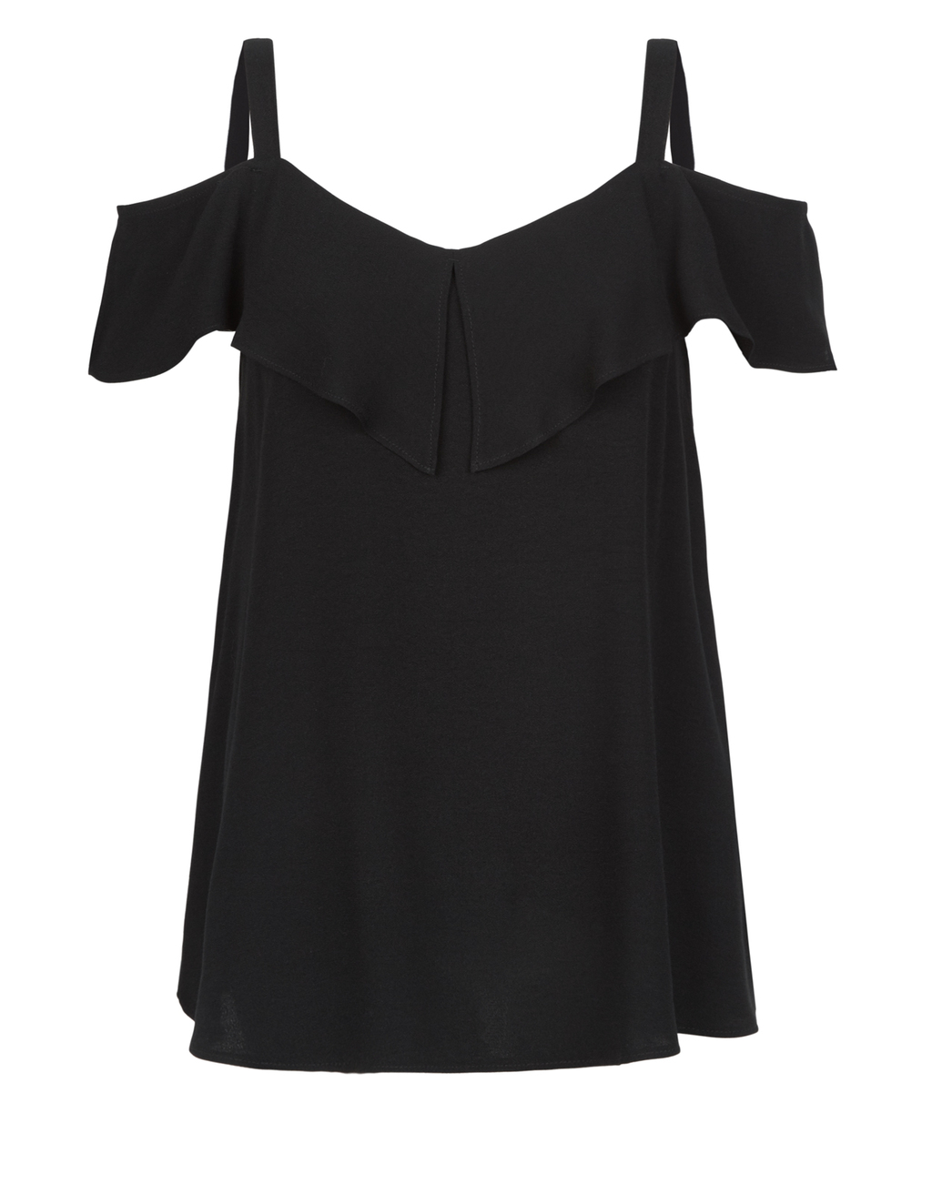 Lana Cold Shoulder Top - neckline: v-neck; pattern: plain; predominant colour: black; occasions: evening; length: standard; style: top; fibres: viscose/rayon - 100%; fit: body skimming; shoulder detail: cut out shoulder; sleeve length: short sleeve; sleeve style: standard; pattern type: fabric; texture group: other - light to midweight; season: s/s 2016; wardrobe: event