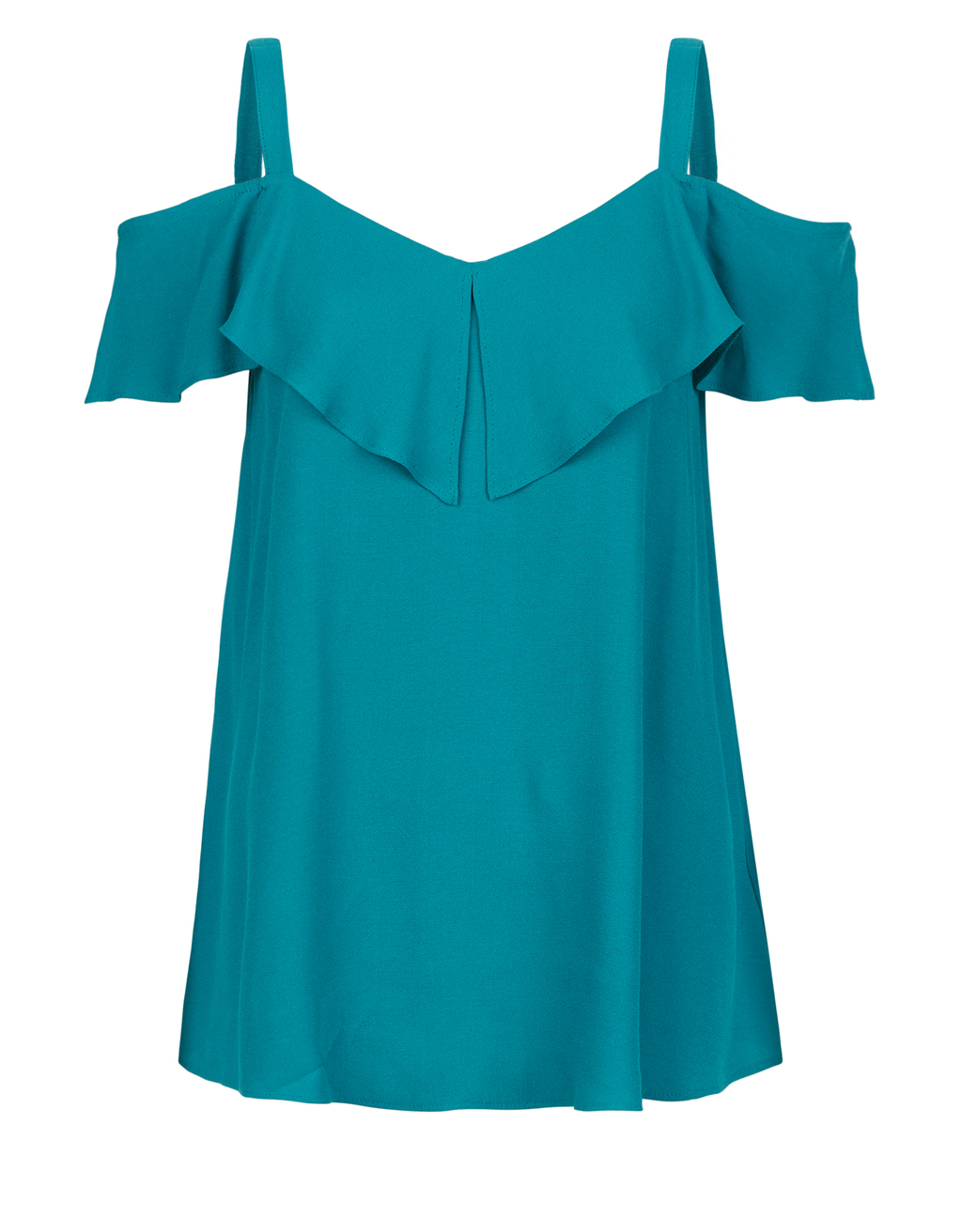Lana Cold Shoulder Top - neckline: low v-neck; pattern: plain; predominant colour: turquoise; occasions: casual; length: standard; style: top; fibres: viscose/rayon - 100%; fit: body skimming; sleeve length: short sleeve; sleeve style: standard; pattern type: fabric; texture group: other - light to midweight; season: s/s 2016; wardrobe: highlight