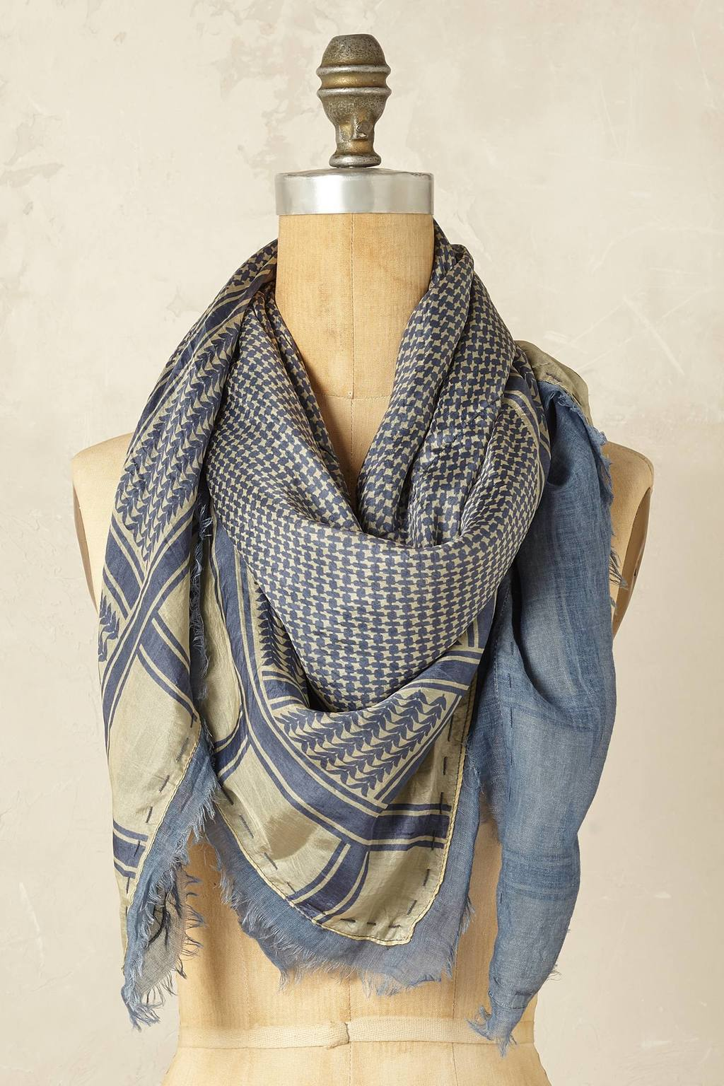 Zandra Silk Front Scarf - predominant colour: denim; occasions: occasion; type of pattern: heavy; style: square; size: large; material: silk; pattern: patterned/print; season: s/s 2016; wardrobe: event