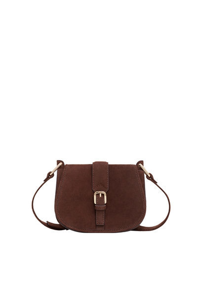 Suede Cross Body Bag - predominant colour: chocolate brown; occasions: casual, creative work; type of pattern: standard; style: saddle; length: across body/long; size: small; material: suede; pattern: plain; finish: plain; season: s/s 2016; wardrobe: basic
