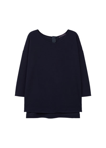 Textured Sweatshirt - pattern: plain; style: sweat top; predominant colour: navy; occasions: casual; length: standard; fibres: polyester/polyamide - stretch; fit: body skimming; neckline: crew; sleeve length: 3/4 length; sleeve style: standard; pattern type: fabric; texture group: jersey - stretchy/drapey; season: s/s 2016; wardrobe: basic