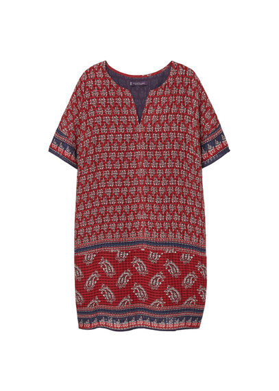 Paisley Print Dress - style: smock; length: mini; neckline: v-neck; fit: loose; pattern: paisley; predominant colour: true red; secondary colour: navy; occasions: casual; fibres: viscose/rayon - 100%; sleeve length: short sleeve; sleeve style: standard; pattern type: fabric; texture group: other - light to midweight; multicoloured: multicoloured; season: s/s 2016; trends: vivid mix; wardrobe: highlight