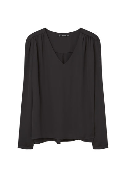 Flowy Blouse - neckline: v-neck; pattern: plain; style: blouse; predominant colour: black; occasions: evening; length: standard; fibres: polyester/polyamide - 100%; fit: body skimming; sleeve length: long sleeve; sleeve style: standard; pattern type: fabric; texture group: jersey - stretchy/drapey; season: s/s 2016; wardrobe: event
