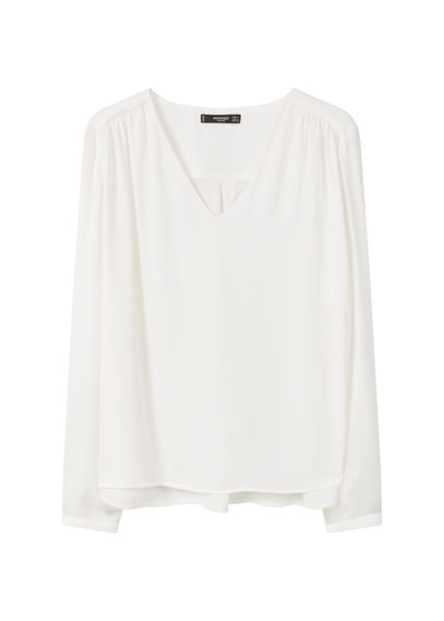 Flowy Blouse - neckline: v-neck; pattern: plain; style: blouse; predominant colour: ivory/cream; occasions: casual, work, creative work; length: standard; fibres: polyester/polyamide - 100%; fit: body skimming; sleeve length: long sleeve; sleeve style: standard; pattern type: fabric; texture group: jersey - stretchy/drapey; season: s/s 2016; wardrobe: basic