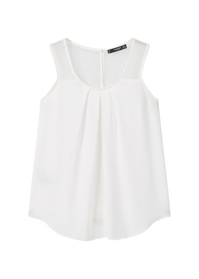 Panel Contrast Top - neckline: round neck; pattern: plain; sleeve style: sleeveless; style: vest top; predominant colour: white; occasions: casual; length: standard; fibres: viscose/rayon - 100%; fit: body skimming; sleeve length: sleeveless; pattern type: fabric; texture group: other - light to midweight; season: s/s 2016; wardrobe: basic