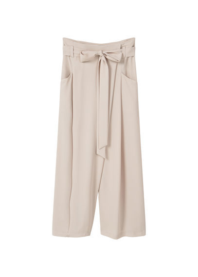 Flare Crop Trousers - length: standard; pattern: plain; style: palazzo; pocket detail: pockets at the sides; waist detail: belted waist/tie at waist/drawstring; waist: mid/regular rise; predominant colour: stone; fibres: polyester/polyamide - 100%; fit: wide leg; pattern type: fabric; texture group: other - light to midweight; occasions: creative work; season: s/s 2016; wardrobe: basic