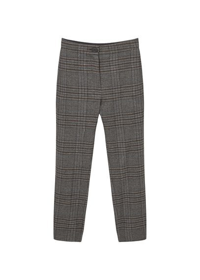 Check Suit Trousers - pattern: checked/gingham; waist: mid/regular rise; predominant colour: charcoal; length: ankle length; fibres: polyester/polyamide - stretch; fit: slim leg; pattern type: fabric; texture group: other - light to midweight; style: standard; occasions: creative work; pattern size: standard (bottom); season: s/s 2016; wardrobe: highlight