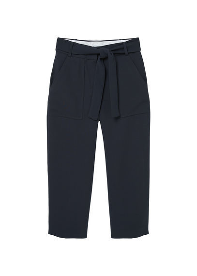 Crop Trousers - pattern: plain; waist: high rise; pocket detail: pockets at the sides; waist detail: belted waist/tie at waist/drawstring; predominant colour: navy; length: ankle length; fibres: polyester/polyamide - 100%; fit: slim leg; pattern type: fabric; texture group: other - light to midweight; style: standard; occasions: creative work; season: s/s 2016