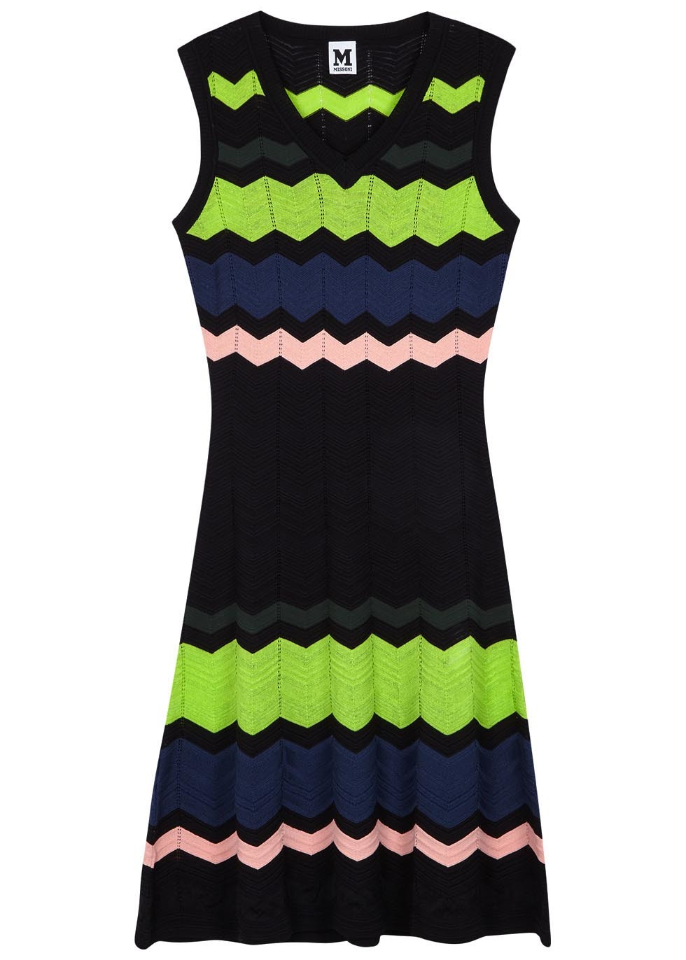 Colour Block Zigzag Fine Knit Dress - style: jumper dress; neckline: v-neck; pattern: horizontal stripes; sleeve style: sleeveless; secondary colour: lime; predominant colour: mid grey; occasions: casual; length: just above the knee; fit: body skimming; fibres: cotton - mix; sleeve length: sleeveless; pattern type: fabric; texture group: other - light to midweight; multicoloured: multicoloured; season: s/s 2016; wardrobe: highlight