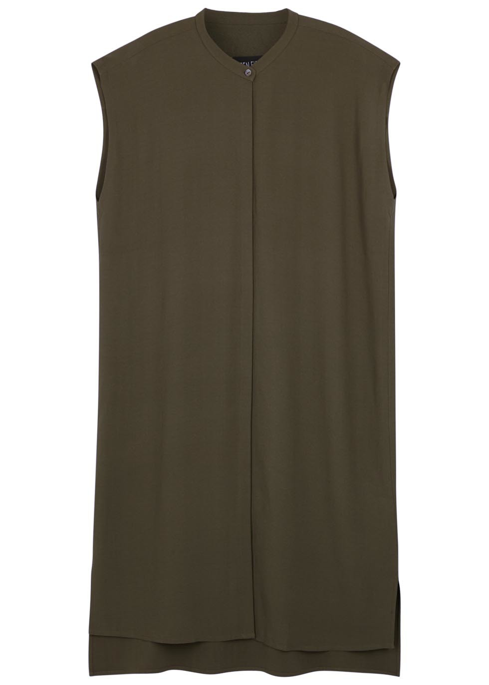Olive Silk Georgette Tunic - pattern: plain; sleeve style: sleeveless; length: below the bottom; style: tunic; predominant colour: khaki; occasions: casual; neckline: collarstand; fibres: silk - 100%; fit: body skimming; sleeve length: sleeveless; texture group: silky - light; pattern type: fabric; season: s/s 2016; wardrobe: basic