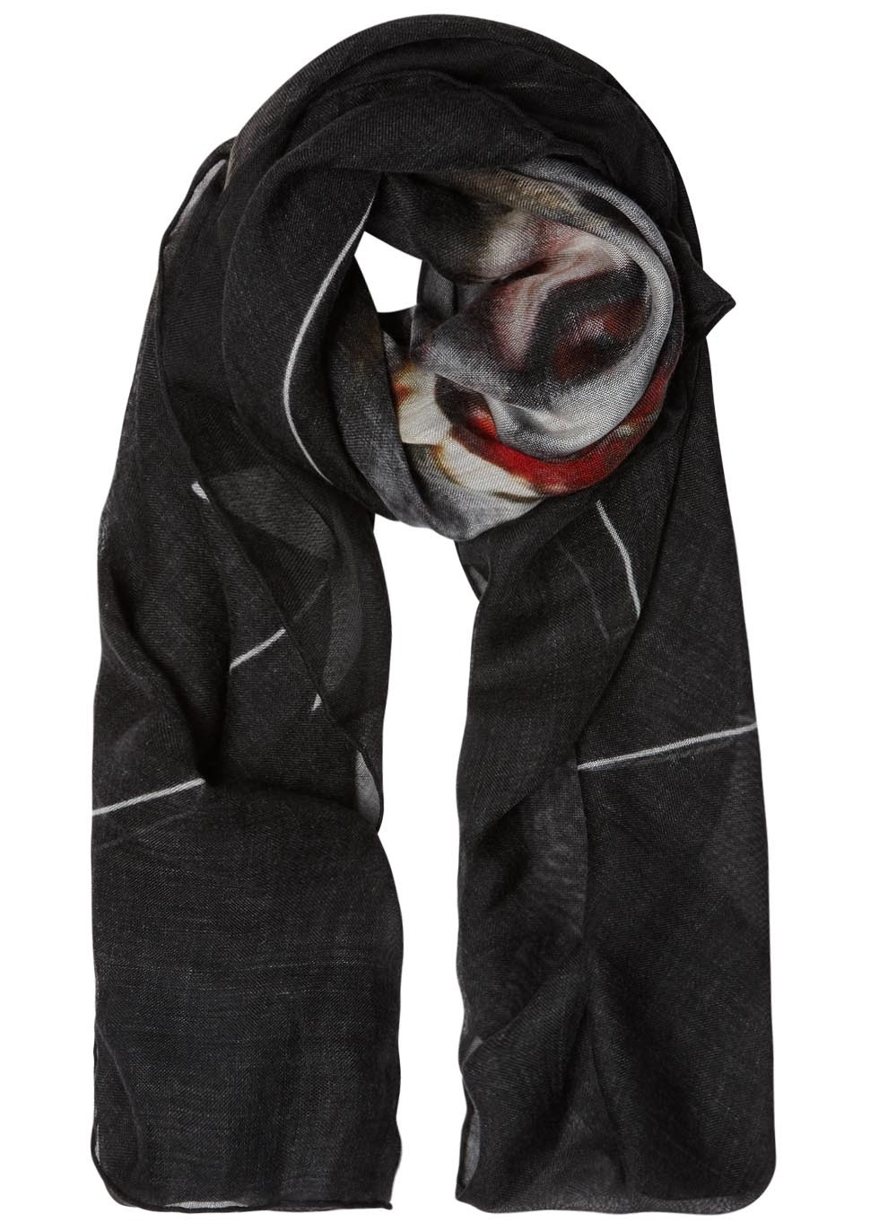 Black Monkey Print Cashmere Blend Scarf - predominant colour: black; occasions: casual; type of pattern: standard; style: regular; size: standard; pattern: patterned/print; material: cashmere; season: s/s 2016; wardrobe: highlight