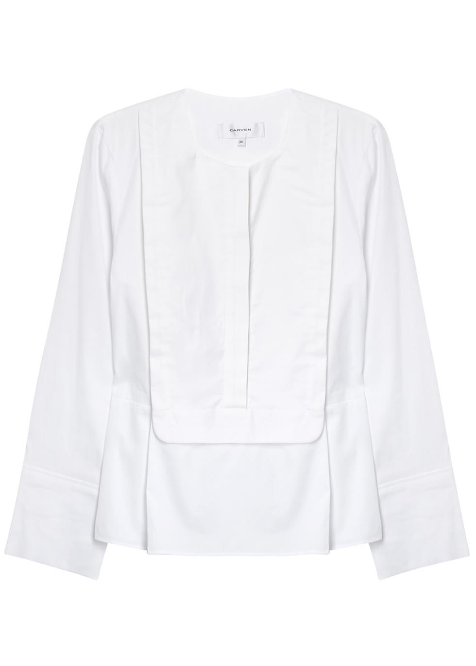 White Bibbed Cotton Poplin Blouse - pattern: plain; predominant colour: white; occasions: work; length: standard; style: top; fibres: cotton - 100%; fit: body skimming; neckline: crew; sleeve length: long sleeve; sleeve style: standard; texture group: cotton feel fabrics; pattern type: fabric; season: s/s 2016; wardrobe: basic