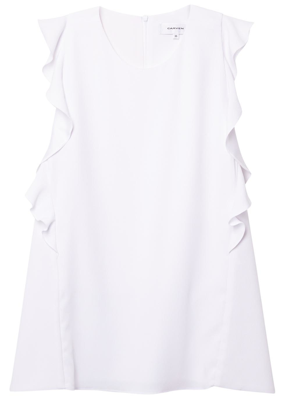 White Ruffled Top - pattern: plain; sleeve style: sleeveless; shoulder detail: tiers/frills/ruffles; predominant colour: white; occasions: casual; length: standard; style: top; fibres: polyester/polyamide - 100%; fit: body skimming; neckline: crew; sleeve length: sleeveless; bust detail: tiers/frills/bulky drapes/pleats; pattern type: fabric; texture group: other - light to midweight; season: s/s 2016