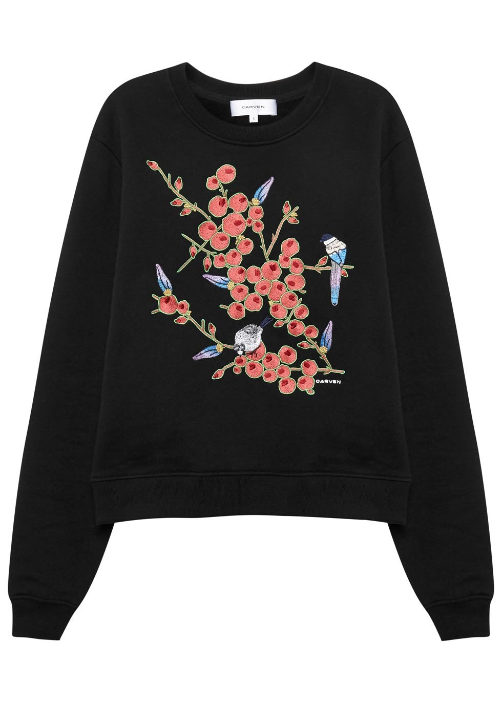 Black Embroidered Cotton Sweatshirt - style: sweat top; secondary colour: coral; predominant colour: black; occasions: casual; length: standard; fibres: cotton - 100%; fit: loose; neckline: crew; sleeve length: long sleeve; sleeve style: standard; pattern type: fabric; pattern: florals; texture group: jersey - stretchy/drapey; embellishment: embroidered; multicoloured: multicoloured; season: s/s 2016; wardrobe: highlight