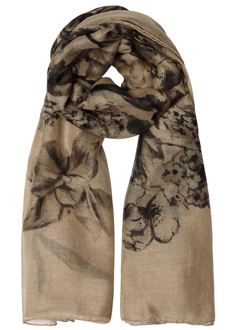 Stone Floral Print Cashmere Blend Scarf - predominant colour: stone; occasions: casual, occasion; type of pattern: large; style: regular; size: standard; pattern: florals; material: cashmere; season: s/s 2016; wardrobe: highlight