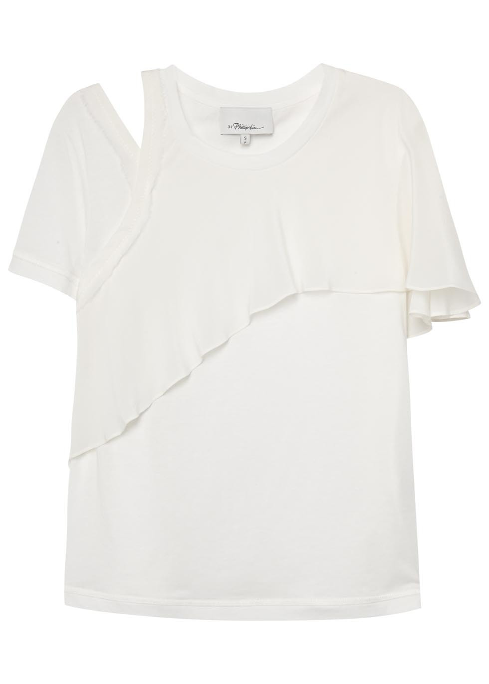 White Silk Flared Cotton T Shirt - pattern: plain; style: t-shirt; bust detail: subtle bust detail; predominant colour: white; occasions: evening; length: standard; fibres: cotton - 100%; fit: body skimming; neckline: crew; shoulder detail: cut out shoulder; sleeve length: short sleeve; sleeve style: standard; pattern type: fabric; texture group: jersey - stretchy/drapey; season: s/s 2016; wardrobe: event