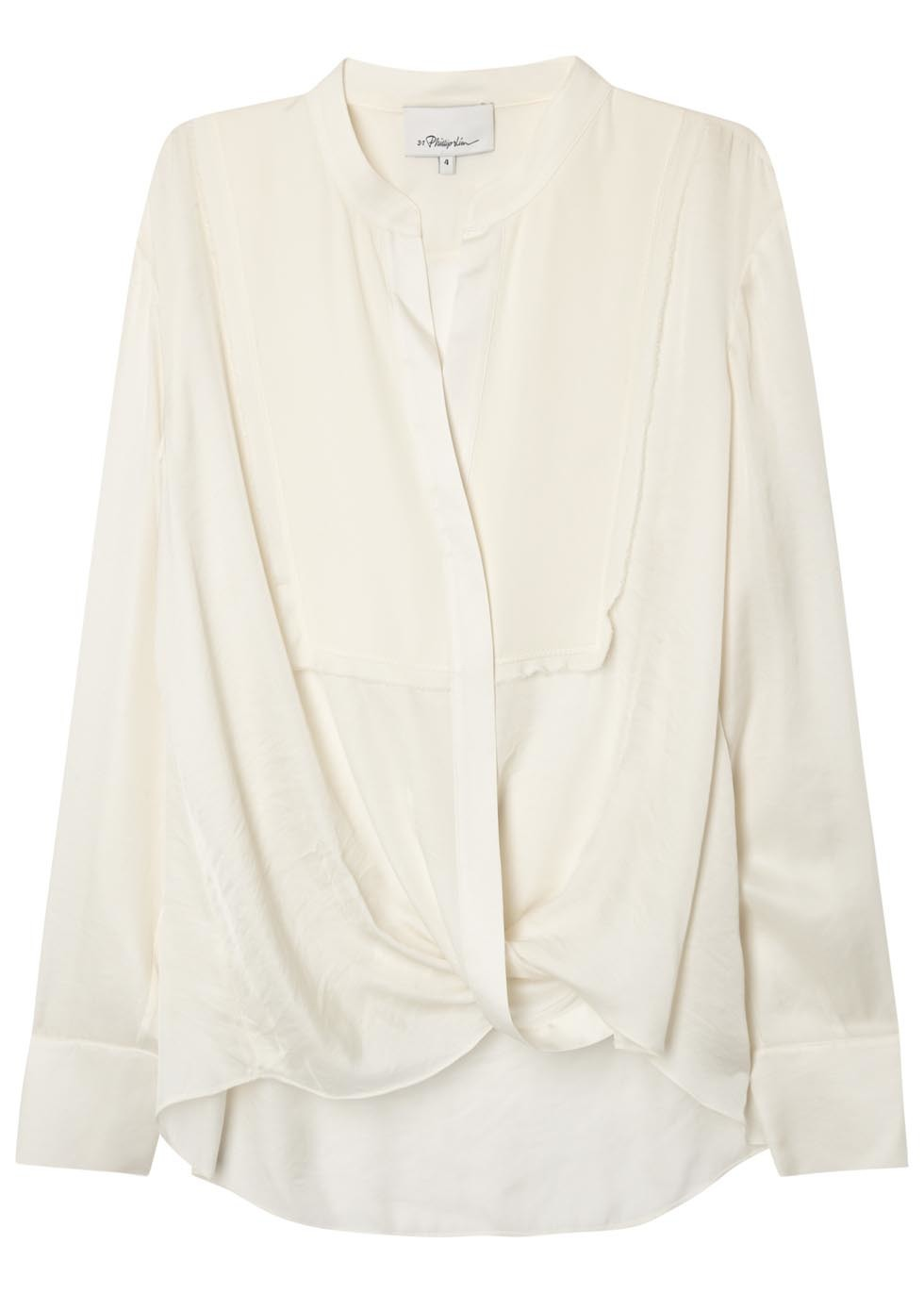 Ivory Draped Satin Twill Blouse - neckline: v-neck; pattern: plain; style: wrap/faux wrap; predominant colour: ivory/cream; occasions: evening; length: standard; fit: body skimming; sleeve length: long sleeve; sleeve style: standard; texture group: crepes; pattern type: fabric; fibres: viscose/rayon - mix; season: s/s 2016