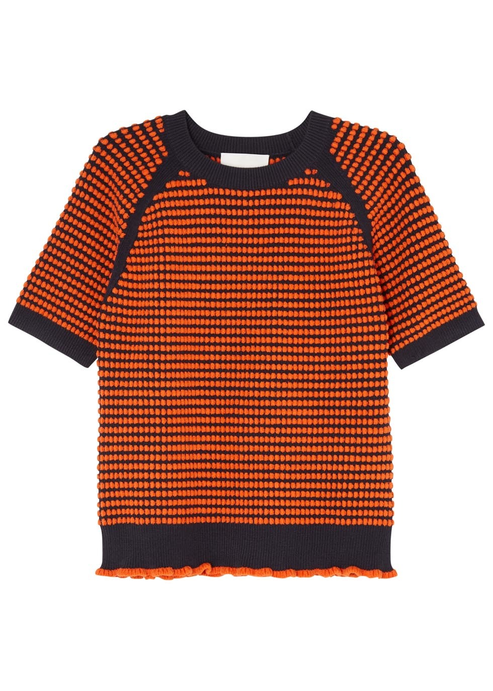Navy And Orange Textured Knit Top - pattern: horizontal stripes; secondary colour: navy; predominant colour: bright orange; occasions: casual; length: standard; style: top; fibres: cotton - mix; fit: body skimming; neckline: crew; sleeve length: short sleeve; sleeve style: standard; texture group: knits/crochet; pattern type: fabric; multicoloured: multicoloured; season: s/s 2016; wardrobe: highlight