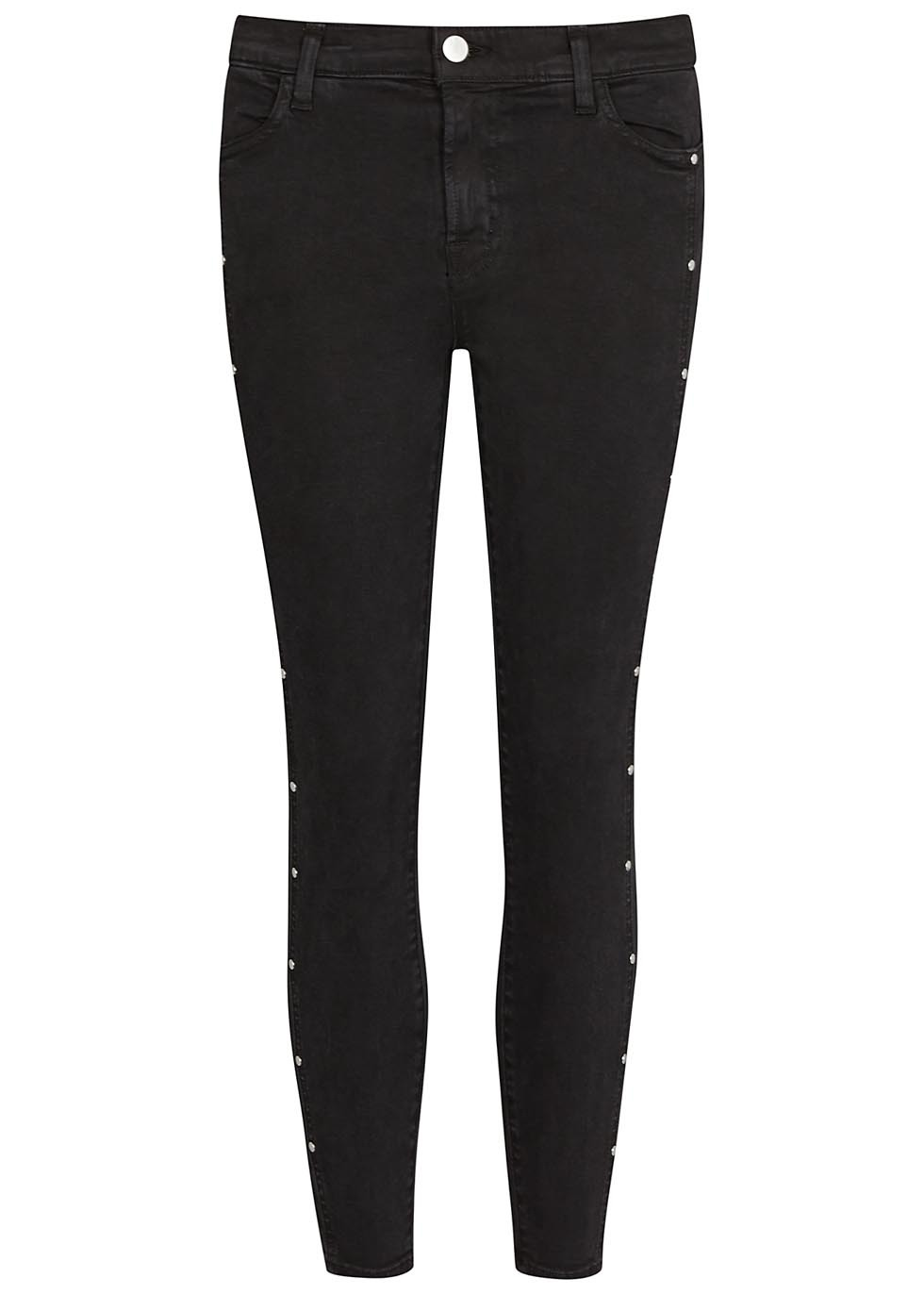Alba Black Cropped Skinny Jeans - style: skinny leg; pattern: plain; pocket detail: traditional 5 pocket; waist: mid/regular rise; predominant colour: black; occasions: casual; length: calf length; fibres: cotton - stretch; texture group: denim; pattern type: fabric; embellishment: studs; season: s/s 2016; wardrobe: basic; embellishment location: hip