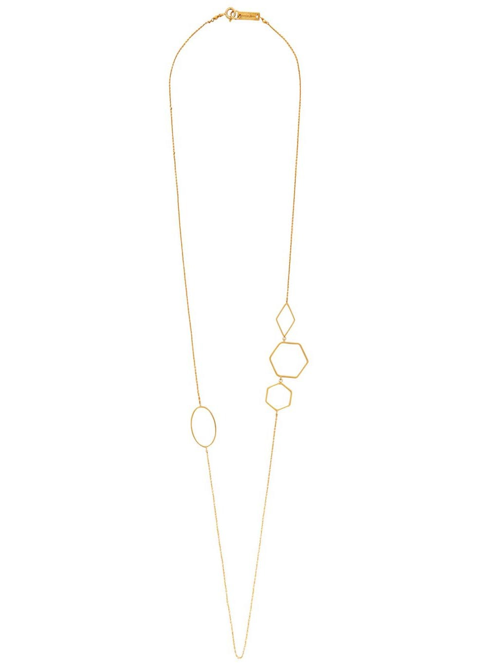 Sautoir Gold Tone Necklace - predominant colour: gold; occasions: casual, creative work; length: mid; size: small/fine; material: chain/metal; finish: plain; season: s/s 2016; style: chain (no pendant)