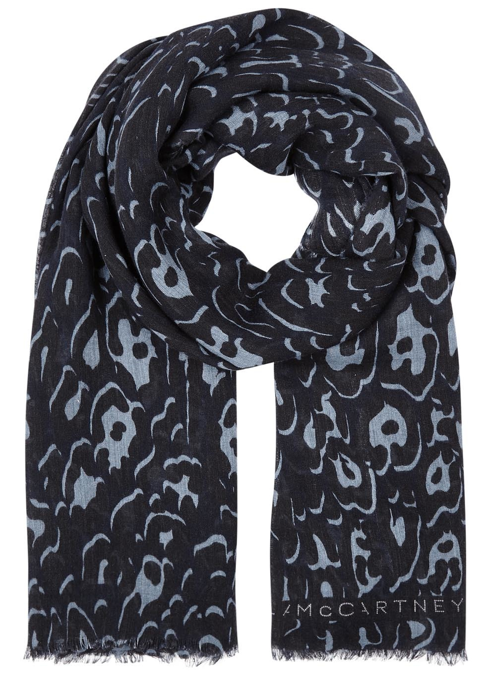 Navy Animal Print Wool Blend Scarf - predominant colour: navy; occasions: casual, creative work; type of pattern: heavy; style: regular; size: standard; material: fabric; pattern: patterned/print; season: s/s 2016; wardrobe: highlight