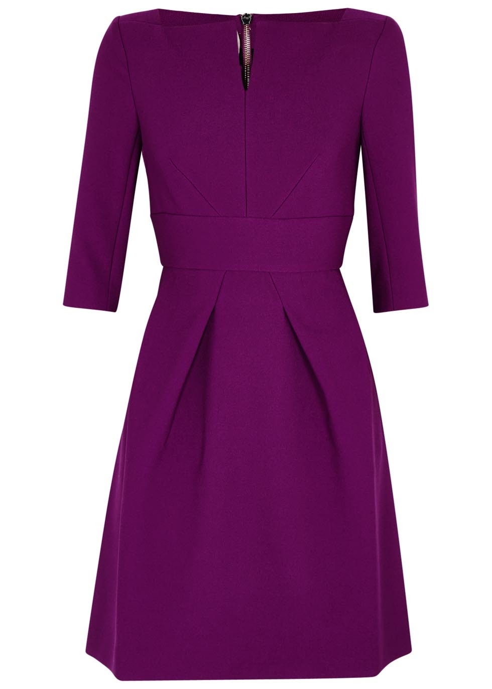 Stanhope Grape Dress - neckline: v-neck; pattern: plain; predominant colour: purple; occasions: evening; length: just above the knee; fit: fitted at waist & bust; style: fit & flare; fibres: polyester/polyamide - stretch; sleeve length: 3/4 length; sleeve style: standard; texture group: crepes; pattern type: fabric; season: s/s 2016; wardrobe: event