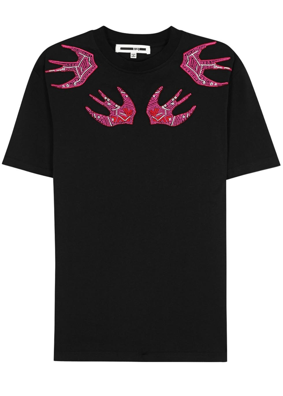 Black Swallow Embroidered Cotton T Shirt - style: t-shirt; secondary colour: hot pink; predominant colour: black; occasions: casual; length: standard; fibres: cotton - 100%; fit: body skimming; neckline: crew; sleeve length: short sleeve; sleeve style: standard; pattern type: fabric; pattern: patterned/print; texture group: jersey - stretchy/drapey; multicoloured: multicoloured; season: s/s 2016; wardrobe: highlight