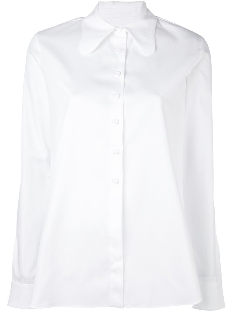 Pretty Collar Shirt, Women's, White - neckline: shirt collar/peter pan/zip with opening; pattern: plain; style: shirt; predominant colour: white; occasions: casual, work, creative work; length: standard; fibres: cotton - 100%; fit: body skimming; sleeve length: long sleeve; sleeve style: standard; texture group: cotton feel fabrics; pattern type: fabric; season: s/s 2016; wardrobe: basic