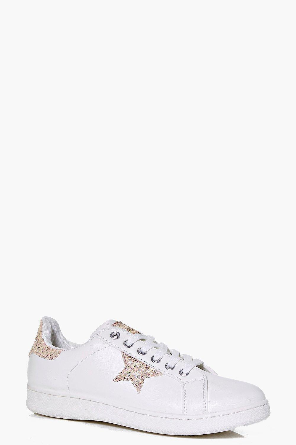 Star Detail Lace Up Trainer Pink - secondary colour: white; predominant colour: blush; occasions: casual; material: faux leather; heel height: flat; toe: round toe; style: trainers; finish: plain; pattern: patterned/print; season: s/s 2016; wardrobe: highlight